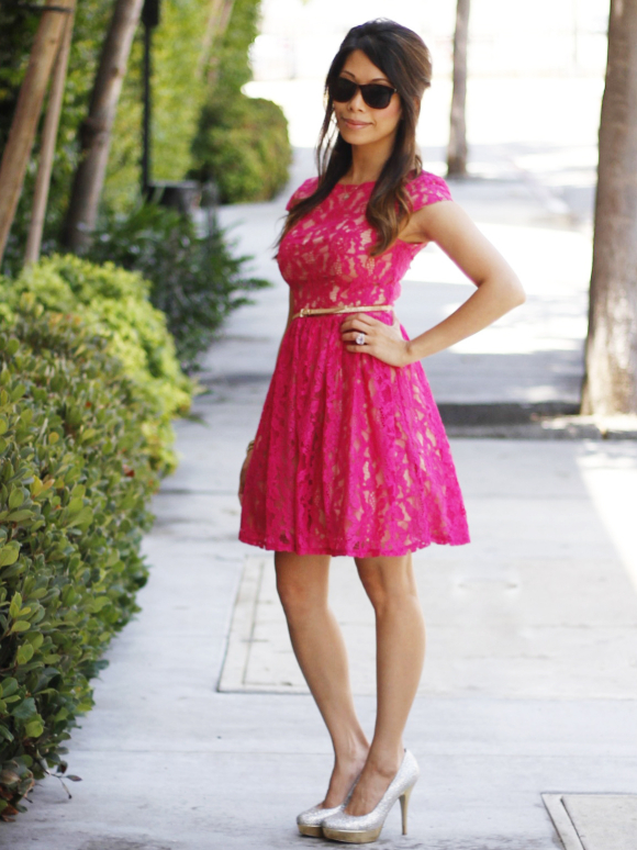 Hot Pink Lace Dress - Lesley Kim- A Lifestyle Blog by ...