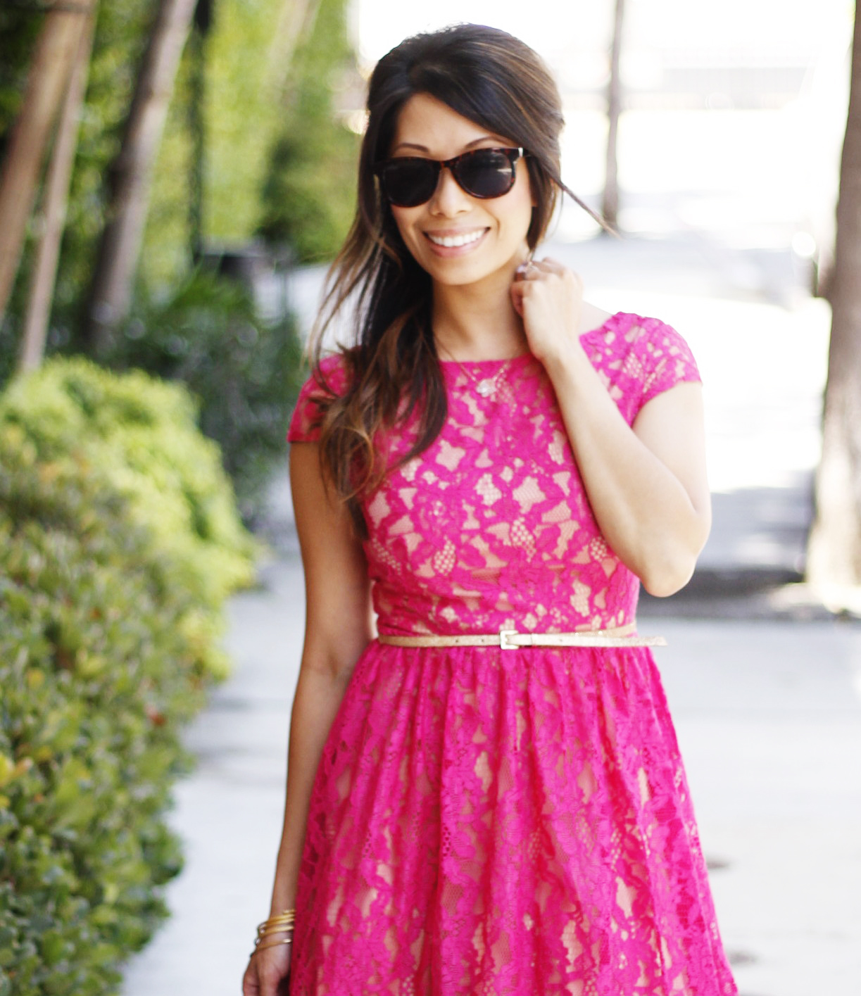 Hot Pink Lace Dress -
