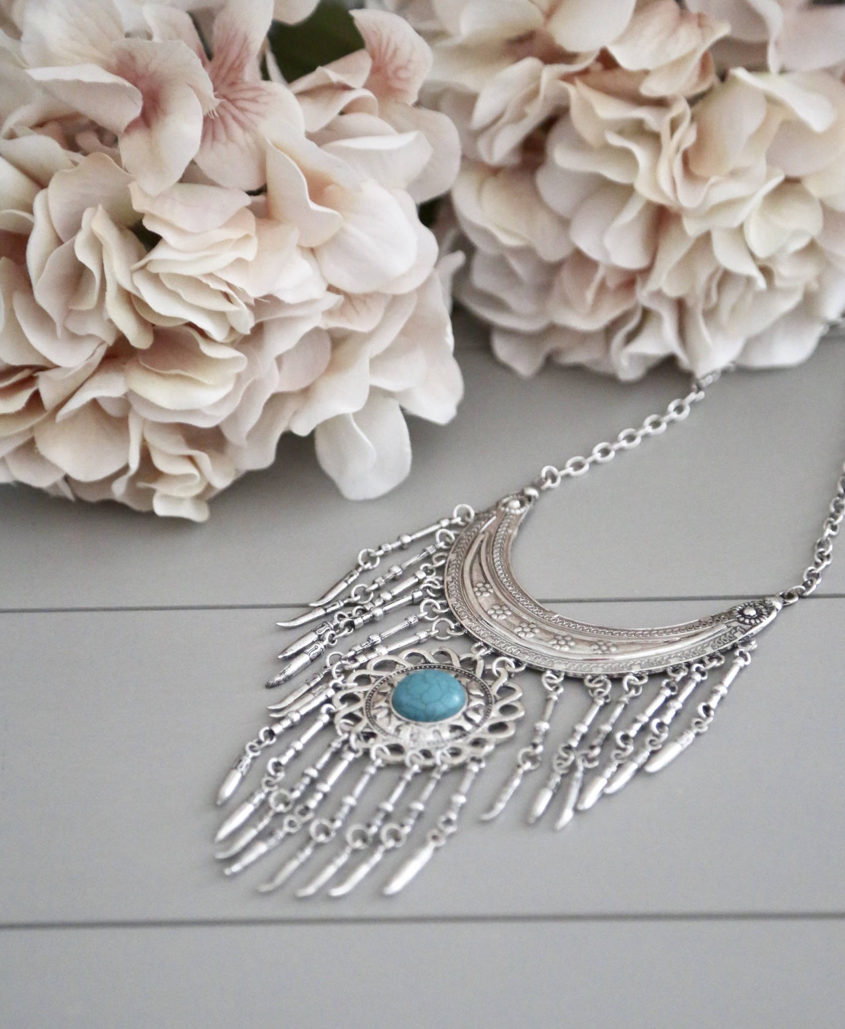 bohemian fringed necklace