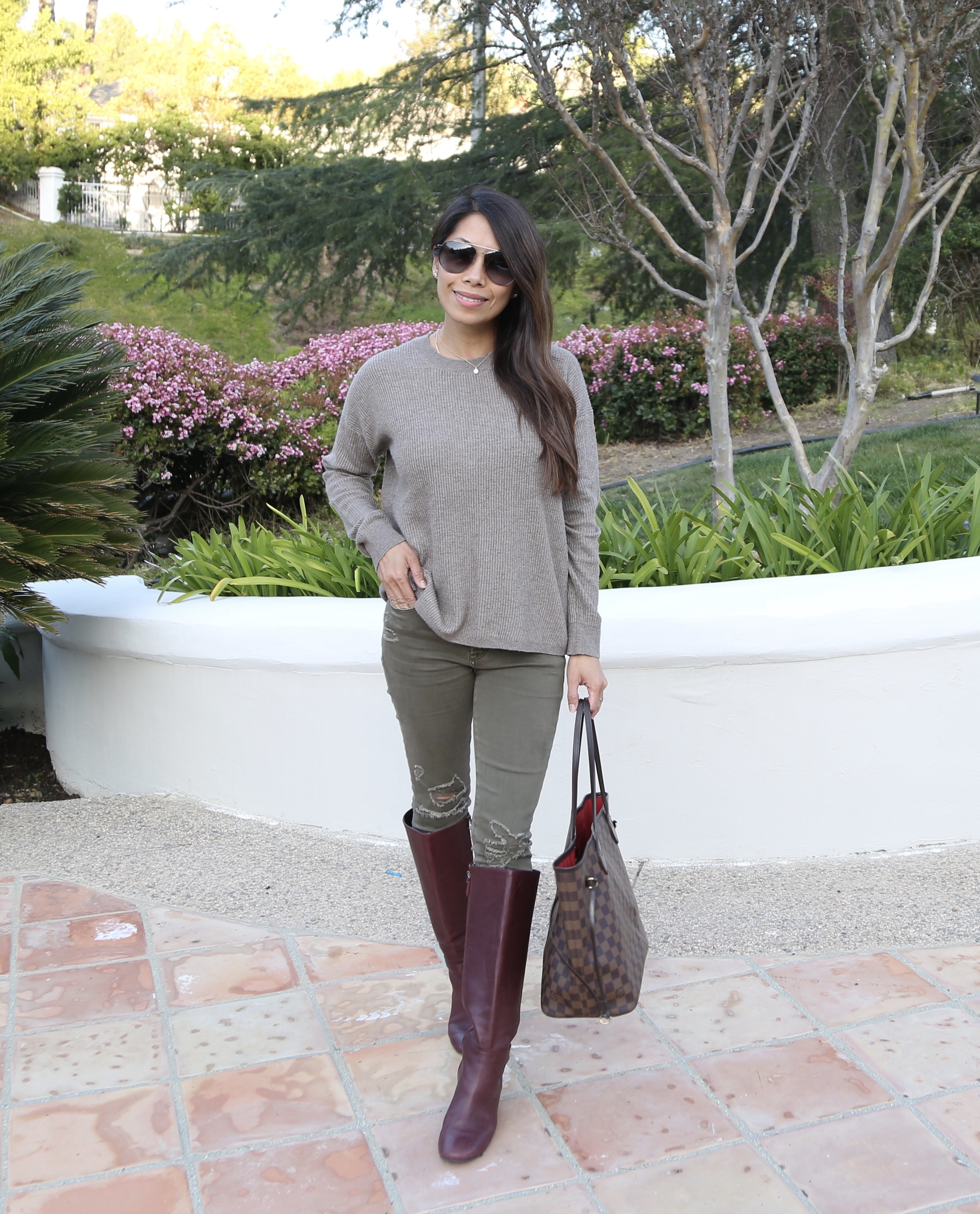 Sweater boots outfit combo